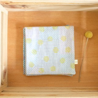 Everyday small geometric stripe point double cotton yarn towel yellow dots