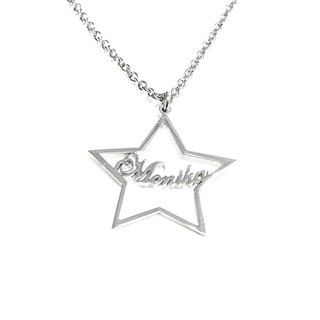 Custom name necklace hand wringting stlye in star pendant