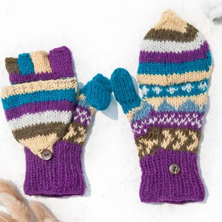 Hand-knitted pure wool knit gloves / detachable gloves / inner bristled gloves / warm gloves - blue purple garden