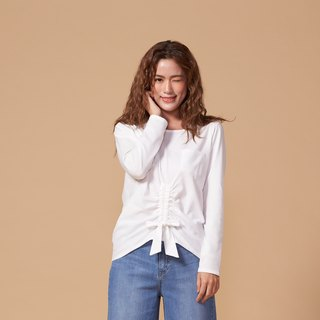 Organic Cotton Top White Round Neck Long Sleeve/Front Strap (woman/woman) Organic Cotton