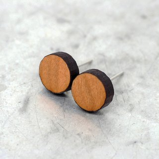 Natural Maple Wood Silver Stud Earrings, 9mm Round, Stainless Steel