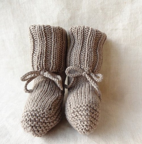 Rib knitting baby booties wool × cotton 6M ~ 209