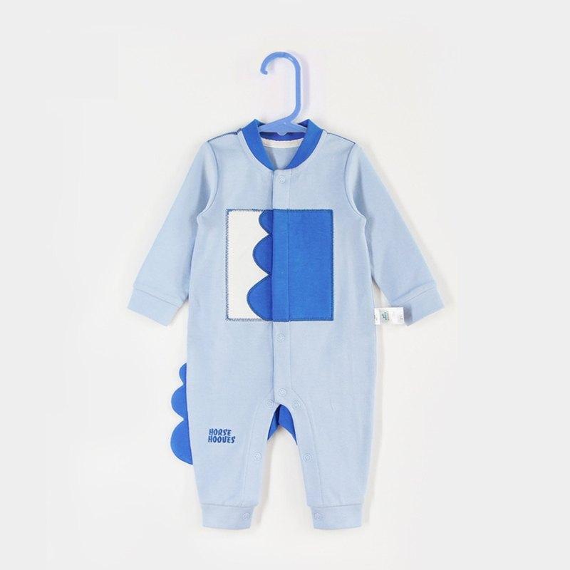 純棉嬰兒新生兒內衣爬服云朵刺繡0-6月—菊蘭色