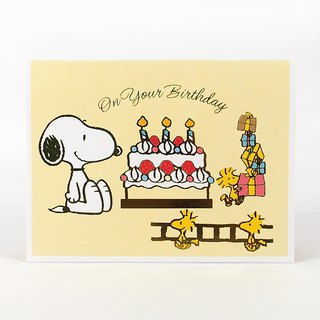 Snoopy 扛 ladder ready to light candles [Hallmark stereo card birthday blessing]