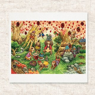 Hand  draw water colour  printed illustration | greeting cards | cards | postcard |  art print | illustration |  wall deco【Plum Flower Village Dinner】