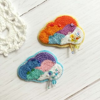 Qy.embroidery handmade embroidery colorful clouds hit color brooch badge hand made hair accessories hair ring