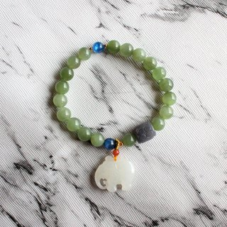 Journal-Happiness to Pure Natural Cat Eye and Daiyu (Hetian Jade) Baby Elephant Elastic Bracelet