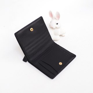 Hannah (Black) : Small leather short wallet, folded wallet