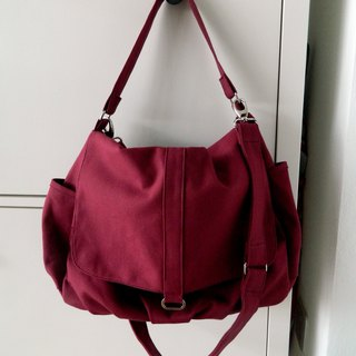 Rose Red canvas Messenger bag / Diaper bag / Travel shoulder bag - no.18 Daniel