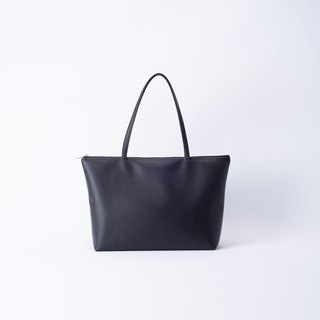 Plain leather shoulder tote bag wild black