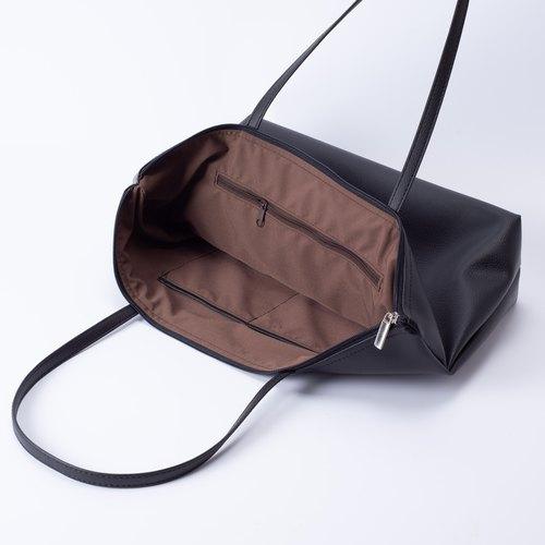 daa9d24e5589 Plain leather shoulder tote bag wild black - Designer spring-orchid ...