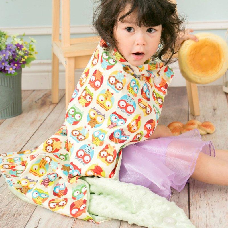Minky多功能 點點顆粒 攜帶毯嬰兒毯冷氣毯被 薄荷綠-貓頭鷹