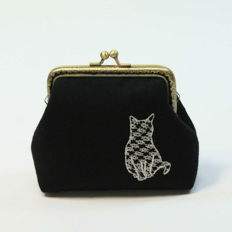 Embroidery 10.5cm Gold Coin Purse 01 - Cat Gesture 05