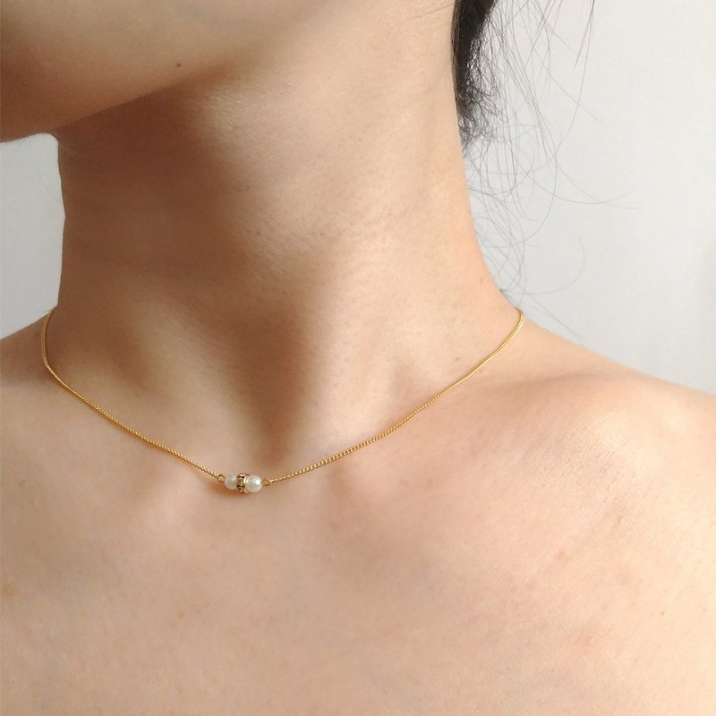 Near - Brass Pearl Necklace