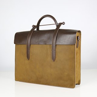 Notation Leather Big Musical Portable Shoulder Briefcase - Desert