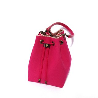 Small pink bucket bag, handbag, mine bucket bag, canvas, handmade