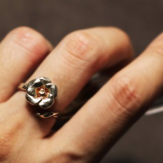 Small flower opening 925 silver ring