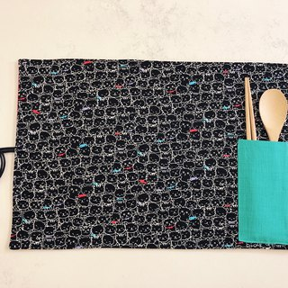 Handmade rope placemat - cat - with cutlery storage bag