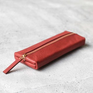 Vegetable tanned cowhide rose red flat rectangular leather pencil case