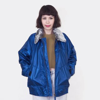 Blue fur collar retro windproof cotton vintage jacket BM3024