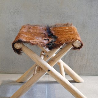 Goat hide teak wood fold stool
