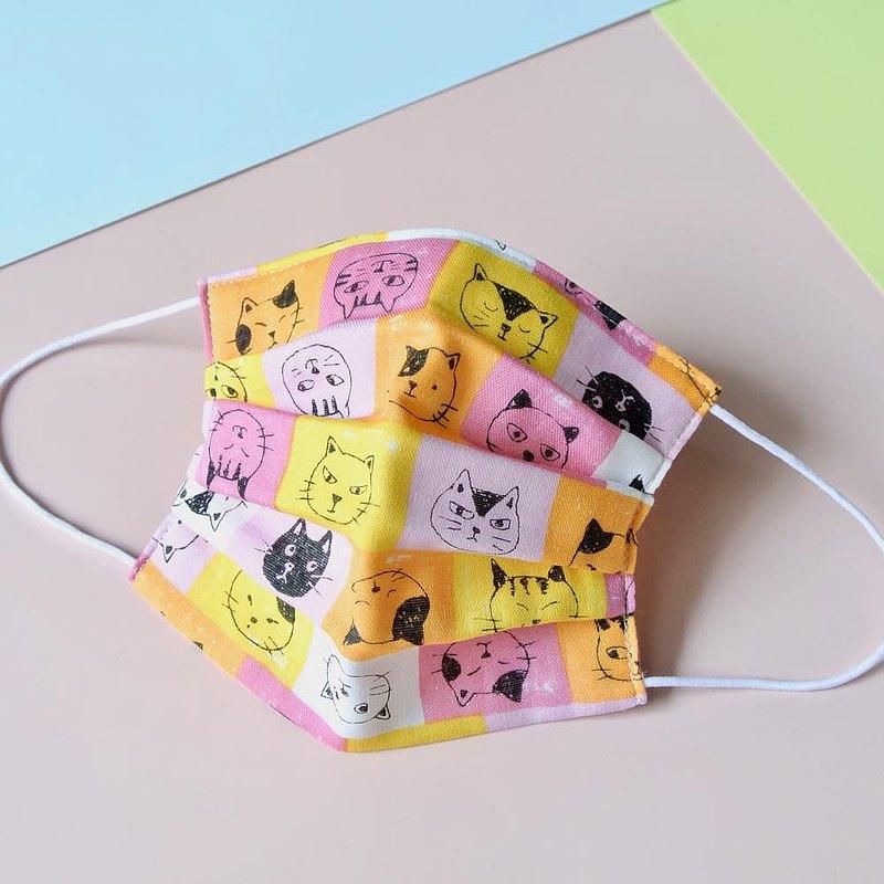 猫柄 粉紅色 手工立體口罩 可洗滌 日本製純棉二重紗布 成人