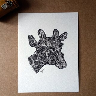 Hand drawing card / postcard (giraffe - manuscript)
