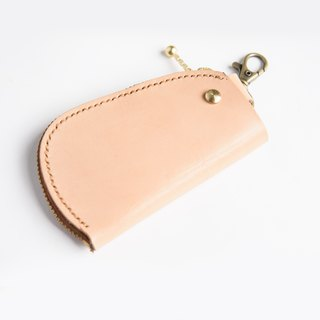 Hand-dyed - leather vegetable tanned leather key bag can be customized lettering
