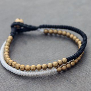Black And White Woven Brass Beaded Bracelets Contrast Cotton Woven