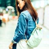 H.A.N.D 水桶背包 後背包日系帆布 牛皮 休閒 禮物 - 淺藍色