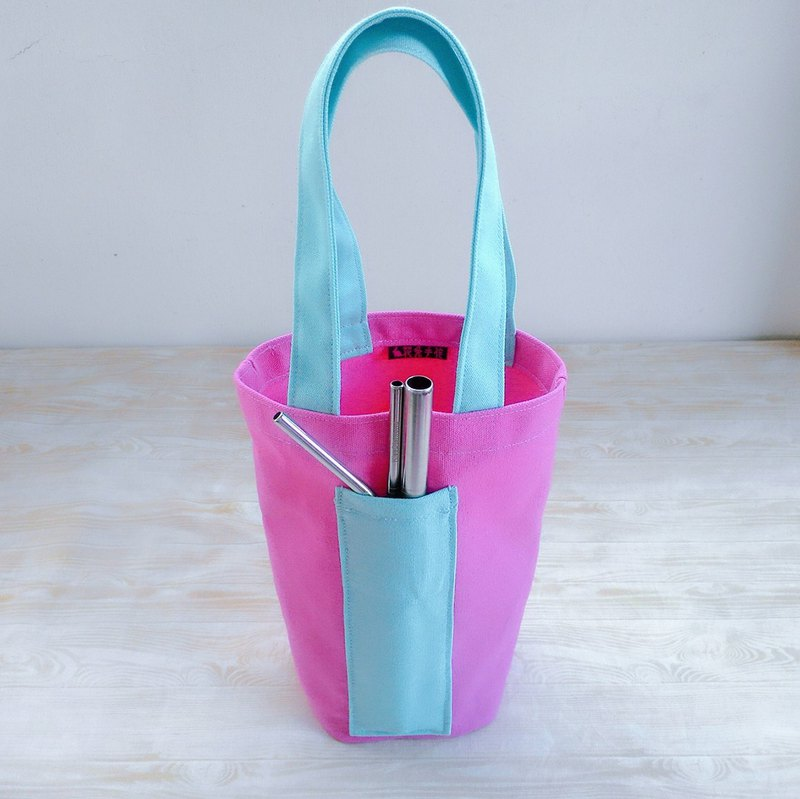 Deep Pink Tiffany color hit the green canvas bag bottle bag ice Cup Cup bag