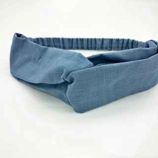 Plain water blue elastic ribbon cross section Hairband*SK*