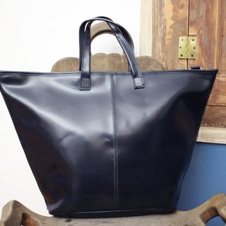 (Vintage Leather Bag) (Made in Italy leather label) PARAVIDINO dark blue handbag (Made in Italy) B142 (birthday gift Valentine's Day gift)