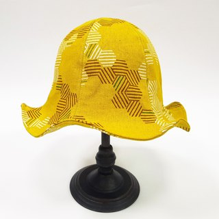 Big lily flower hat retro geometric line hexagon stripe #新品#防晒#御寒#日本布