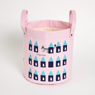 Pink fox - small round color storage bag