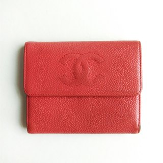 A ROOM MODEL - VINTAGE, BD-0593 CHANEL embossed orange short clip