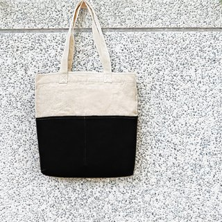 Thick canvas color matching double pocket tote (shoulder/handbag) - Black