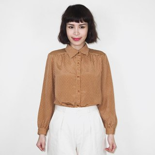Orange brown thousand bird pattern chiffon vintage long sleeve shirt BM4036