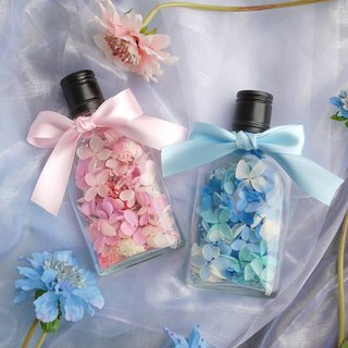 Valentine's gift - pink blue whiskey glass flat bottle not withered hydrangea gentleman blue & ladies pink