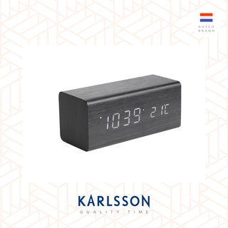 Karlsson, Alarm clock Block wood veneer black LED