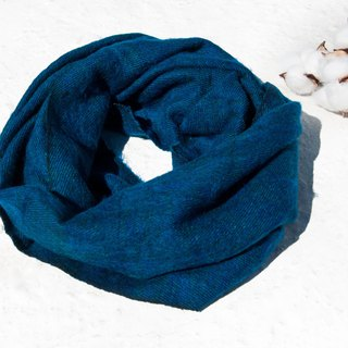 Christmas gift pure wool scarf / handmade knit scarf / woven scarf / pure wool scarf - blue with green