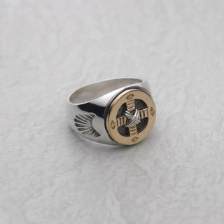 Ring with 18K Gold Medicine Wheel & Silver Wire