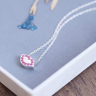 Ruby Lips Necklace Silver 925