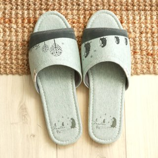 Organic cotton flocking indoor slippers (hedgehog family) twist green