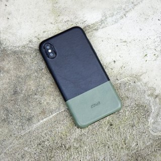 iPhone X two-tone leather phone case - black / olive green / without card /