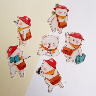 Travel bear / transparent stickers / a total of 6 into