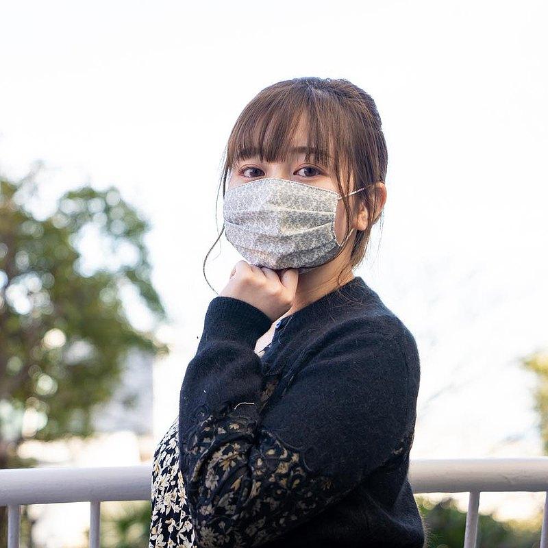 錦緞圖案  灰色 手工立體口罩 可洗滌 日本製純棉二重紗布 成人