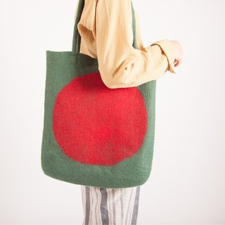 Ke people original single shoulder handbag female large bag handmade wool felt pure wool simple retro Japanese art