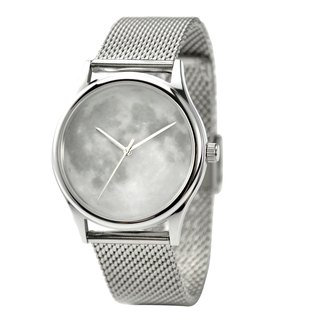 Moon Watch White with Mesh Metal Band - Unisex - Free shipping