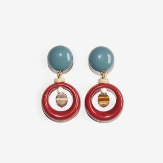 Dusty Blue and Tigerite Stone Earrings